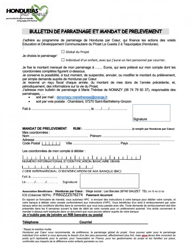 Hpc formulaire parrainage 08 sep 20
